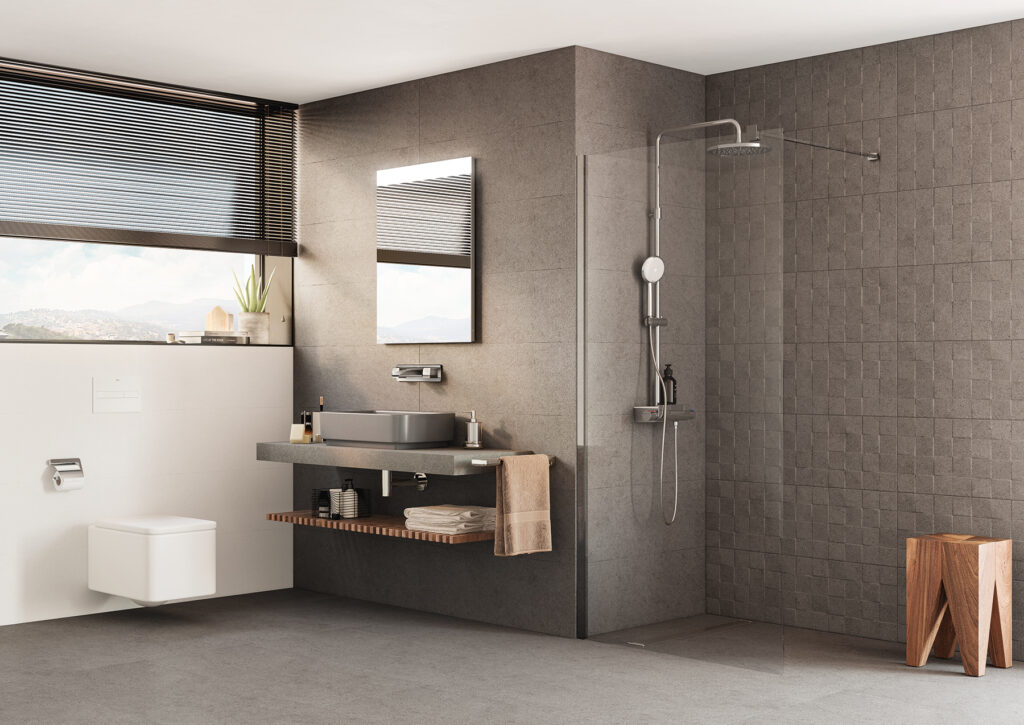 shower with gray ceramic tile wall