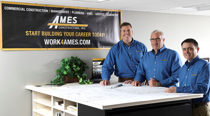 Owners & Officers of Ames Construction, Inc. L-R, Steve Burridge, VP Construction Management, Daryl Martin, VP Operations, Mark Yoder, President