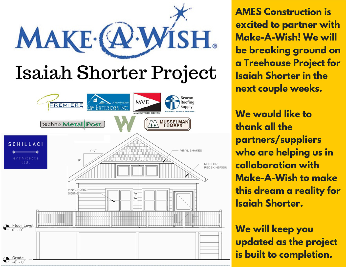 Make-A-Wish Treehouse Project - Ames Construction Inc. is proud to be a contributor to this project.