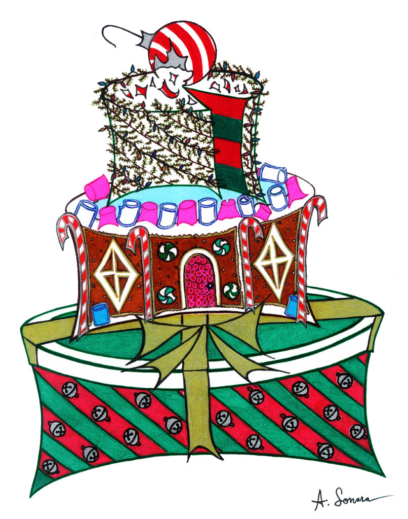 X-Mas Cake [2016]; Merry X-Mas on a three-tier cake. Jingle bells adorn wrapping paper on a gift box form the base, a not too complicated gingerbread house makes the center, and evergreen vines with decorative lights make up the precipice, topped with a broken peppermint ornament.