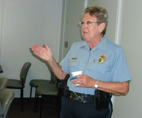Interim Police Chief Ellen Hanson addressed a group of citizens during 2014. (File photo by William Crum)