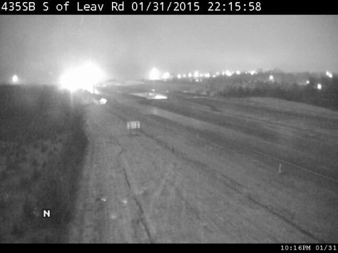 A little snow was falling around 10 p.m. Saturday at I-435 and Leavenworth Road in Kansas City, Kan. (KC Scout photo)