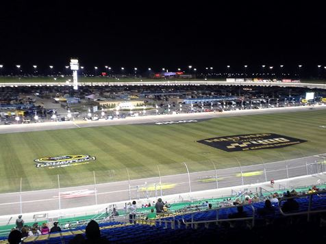 There was racing under the lights tonight in the ARCA Racing Series Kansas 150 night race presented by Menards in Kansas City, Kan. The Kansas Lottery 300 NASCAR Xfinity Series race will be at 2:15 p.m. Saturday, Oct. 15. The Sprint Cup Series Hollywood Casino 400 will be at 1:15 p.m. Sunday, Oct. 16. For more information, visit www.kansaspseedway.com. (Fan photo)