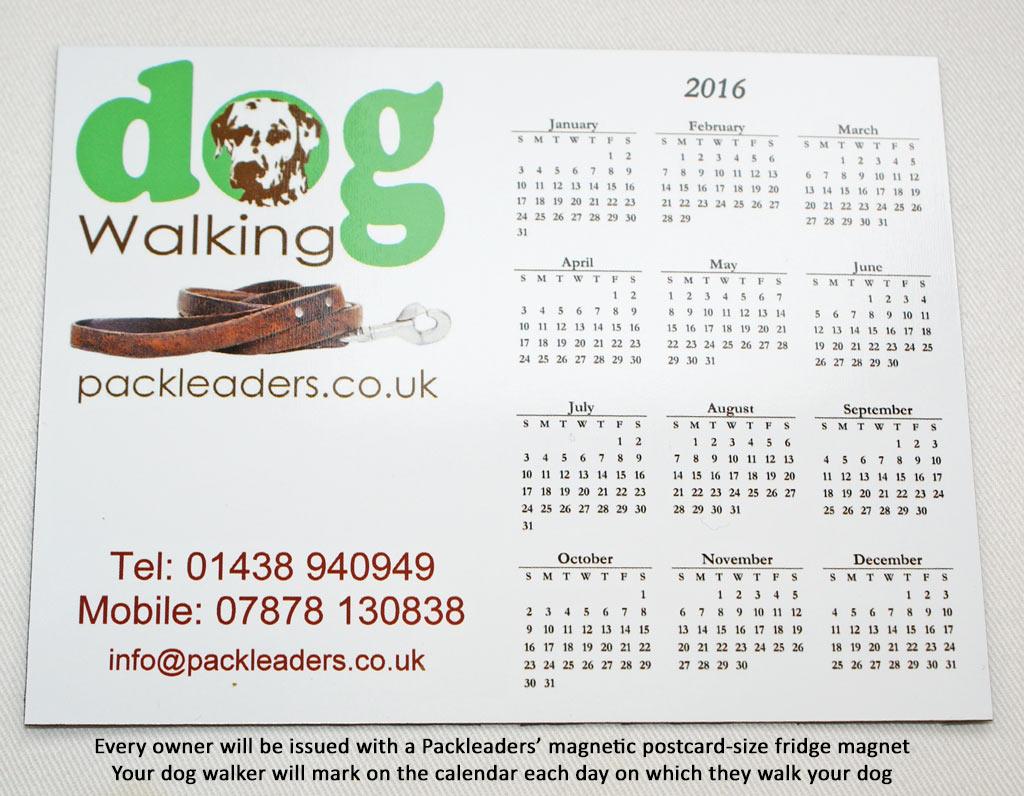 Stevenage Dog Walkers Magnetic Fridge Calendar