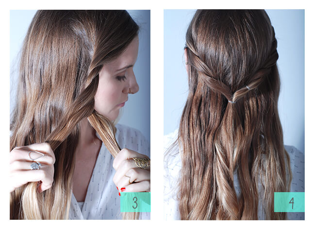 •Twist both sides of your hair into a half pony. This should be about half your head of hair.