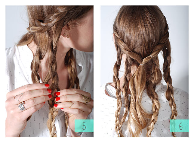 Braid the remaining hair into medium sized braids, roughly 4-5 depending on you hairs thickness.