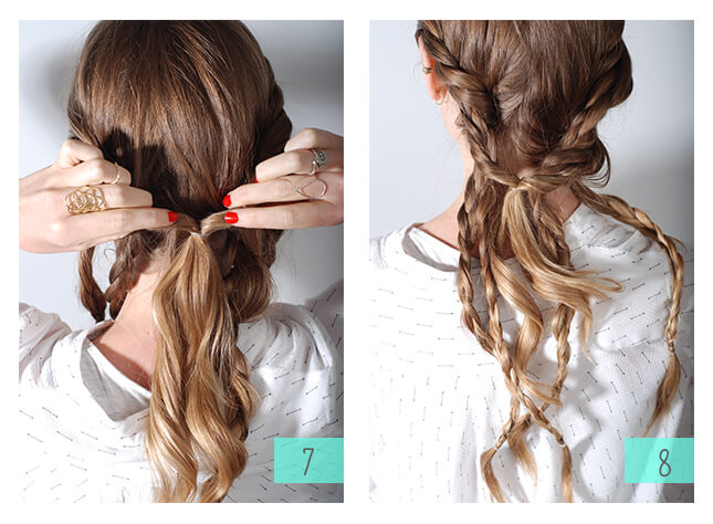 To add texture to the style, gently separate the braids.