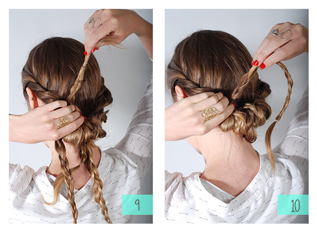 •Starting with the ends of the ponytail, begin to flip the hair through the half pony. Use bobby pins along the way to keep them in place.