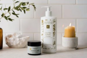 Helena Lane Lavender and Lime Cleanser and Eminence Organics Clear Skin Probiotic Cleanser