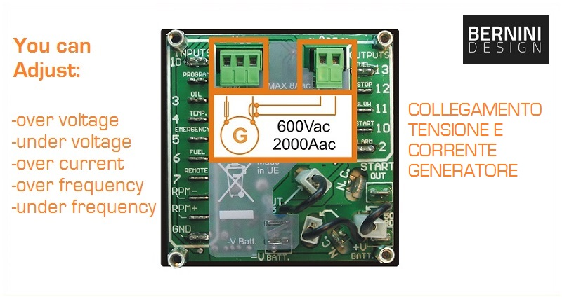 Centralina elettronica gruppo elettrogeno tensione corrente