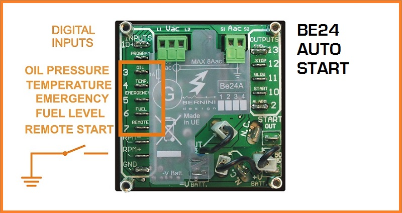 Generator auto start input connections