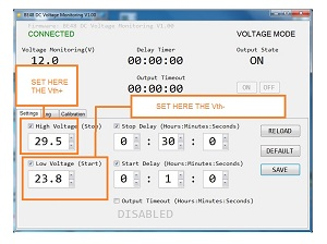 VOLTAGE MONITORING RELAY VDC SETTINGS