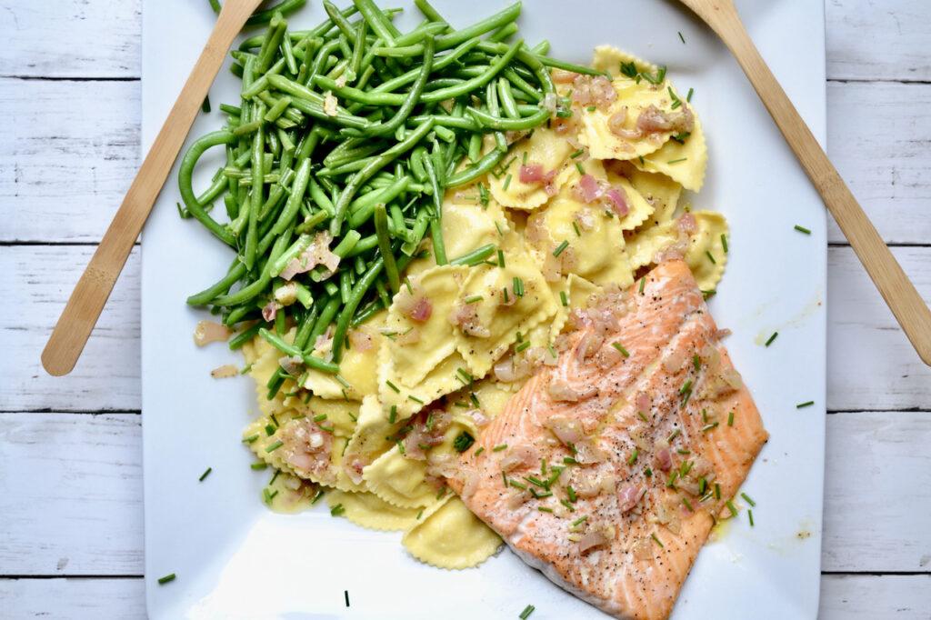 salmon and ravioli