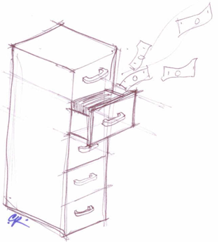 Illustration showing the potential for losing money by having important paperwork hidden in closed file drawers. Illustration by Christopher P. Pierre.