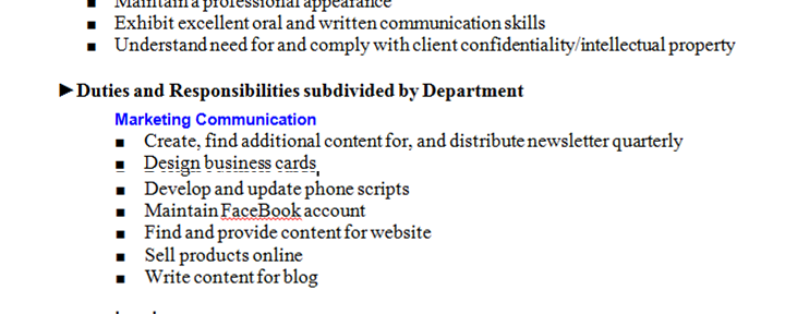 Example Job Description (using a template) for a Volunteer, Outsourced Marketing Director at a Non-Profit Organization