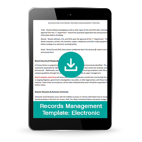 Financial Electronic Records Management Process Template (Premium)