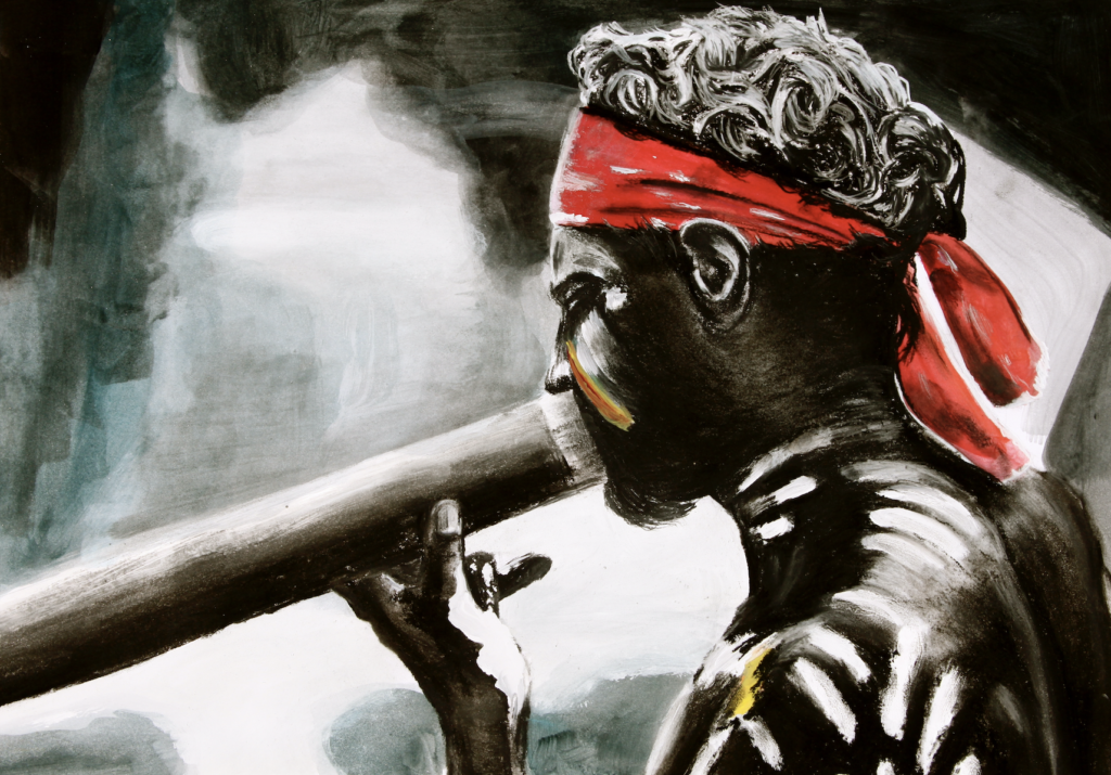 charcoal tempera man with instrument