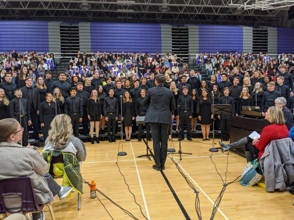 students singing in choral festival