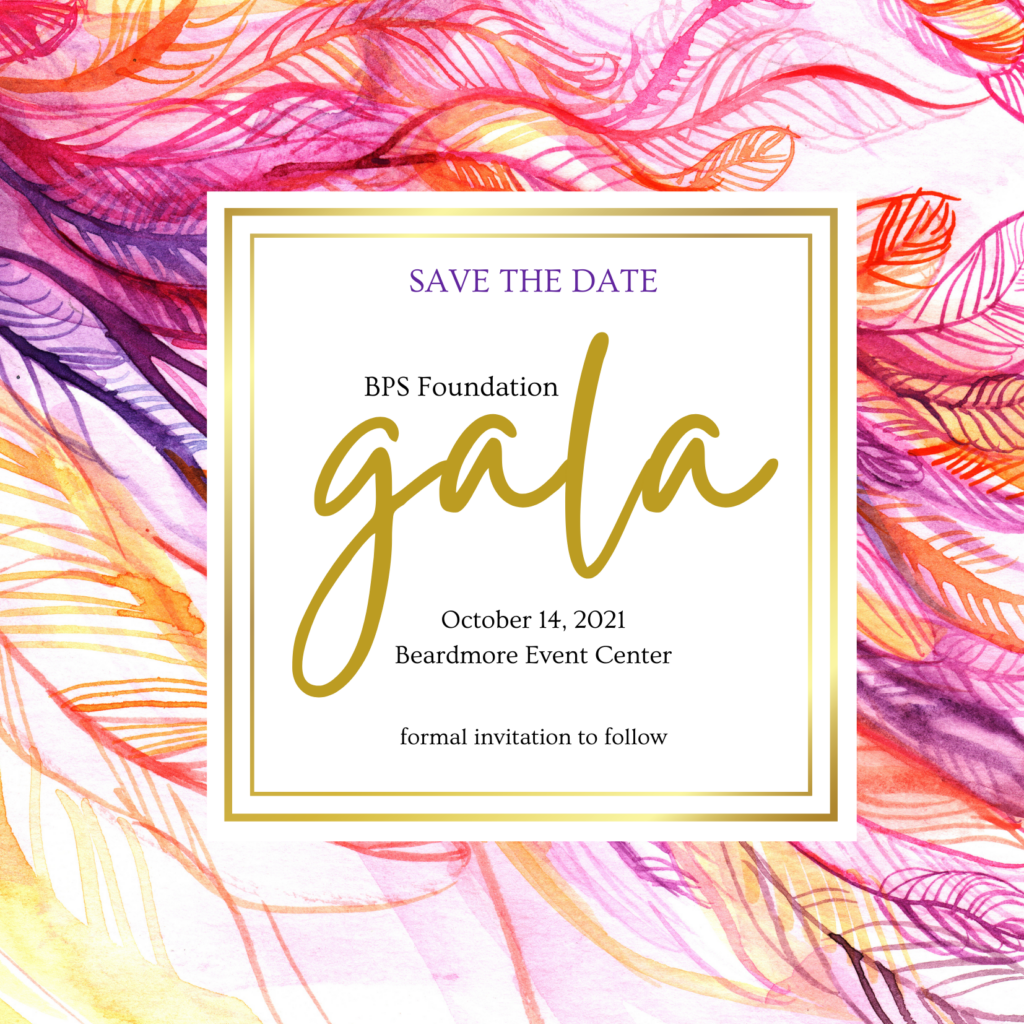 Pink, purple and gold invitation Save the Date graphic: BPS Gala, October 14, 2021