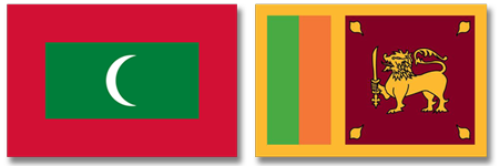 maldives and sri lanka flags