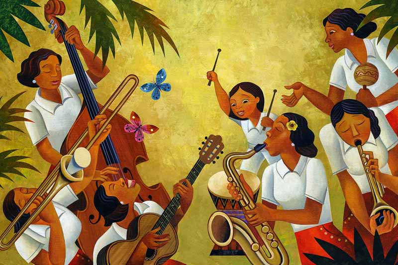 lady jazz band in cuba