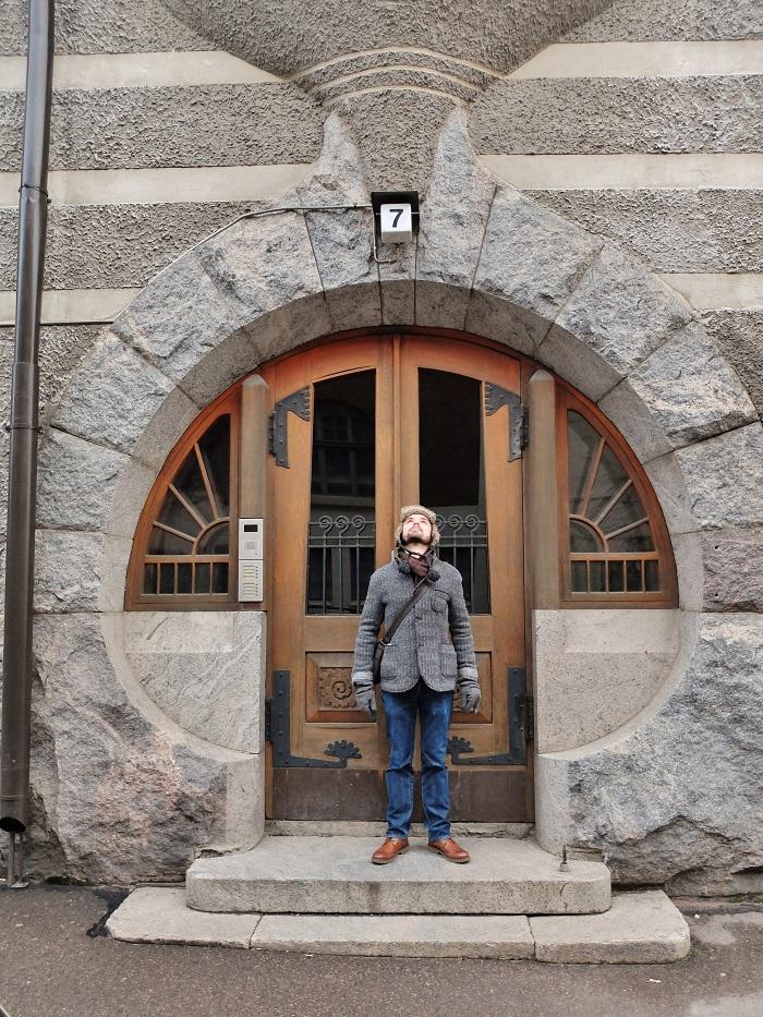 Nico posing in the doorway of a rather cool doorway in Helsinki, one of many