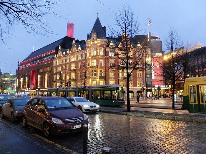 Stockmann's looking bright and shiny on a December evening