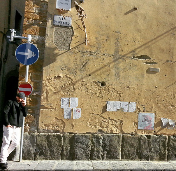 Street art and poetry dot the walls of piazza della passera, one of my favorite places