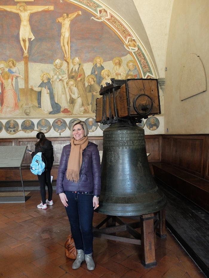 Alexandra next to the naughty bell, she looks tiny!