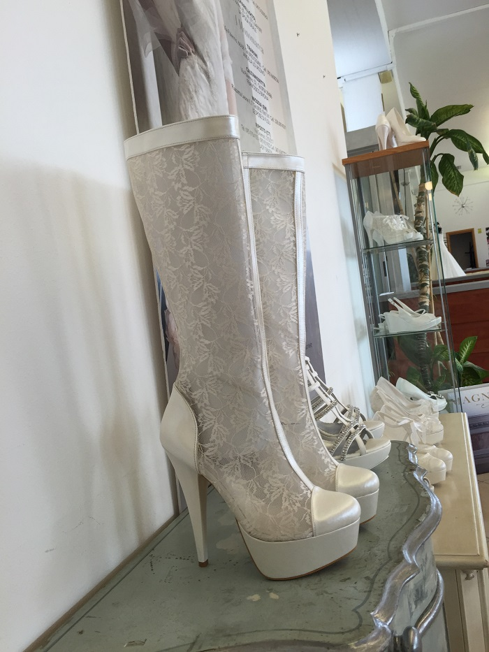 These boots were made for walking (on the street if you know what I mean) but I really did spot them in a wedding dress store