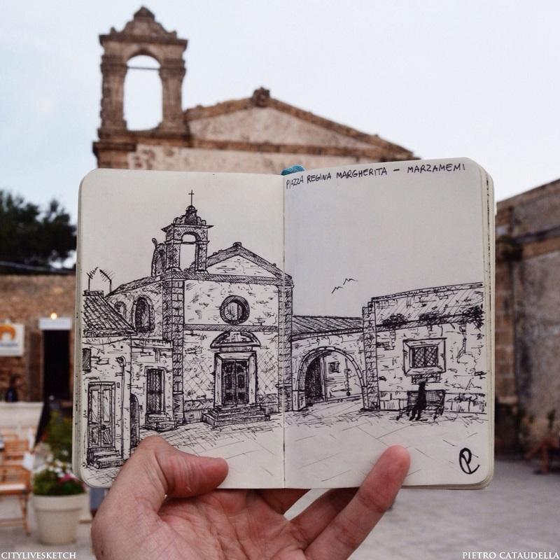 Piazza Regina Margherita (Marzamemi) Live Sketch