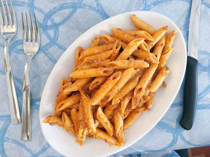 """The recipe for the famous """"penne alle aconese"""" is closely guarded by the restaurant. I may try to get them drunk one day to get the details."""