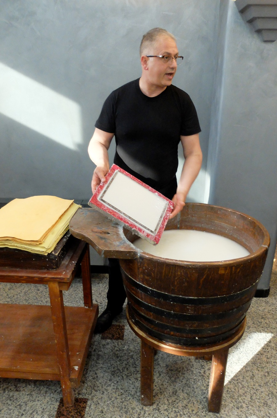 Say hello to Sandro, celebrity paper-maker artisan from Fabriano, showing us how it's done.