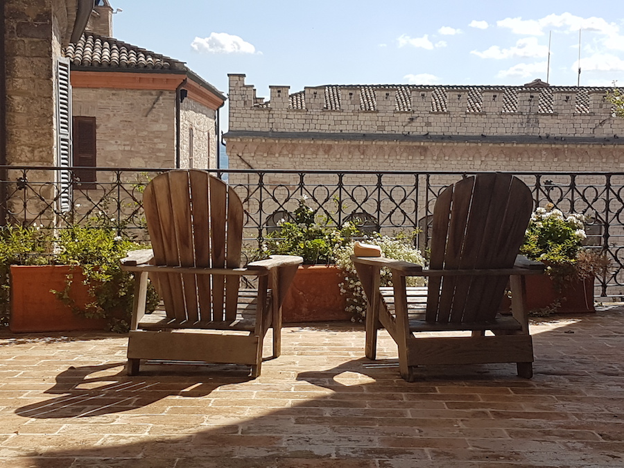 Terrace at one of Rebecca's town apartments in Assisi