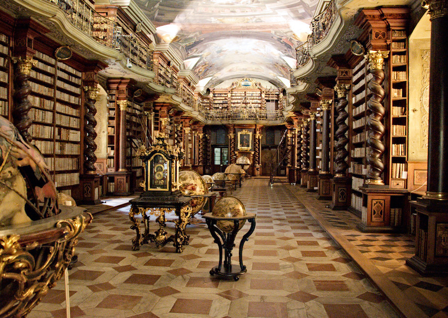 The astounding Clementinum library, opened in 1722. Photo credit: Wikimedia commons