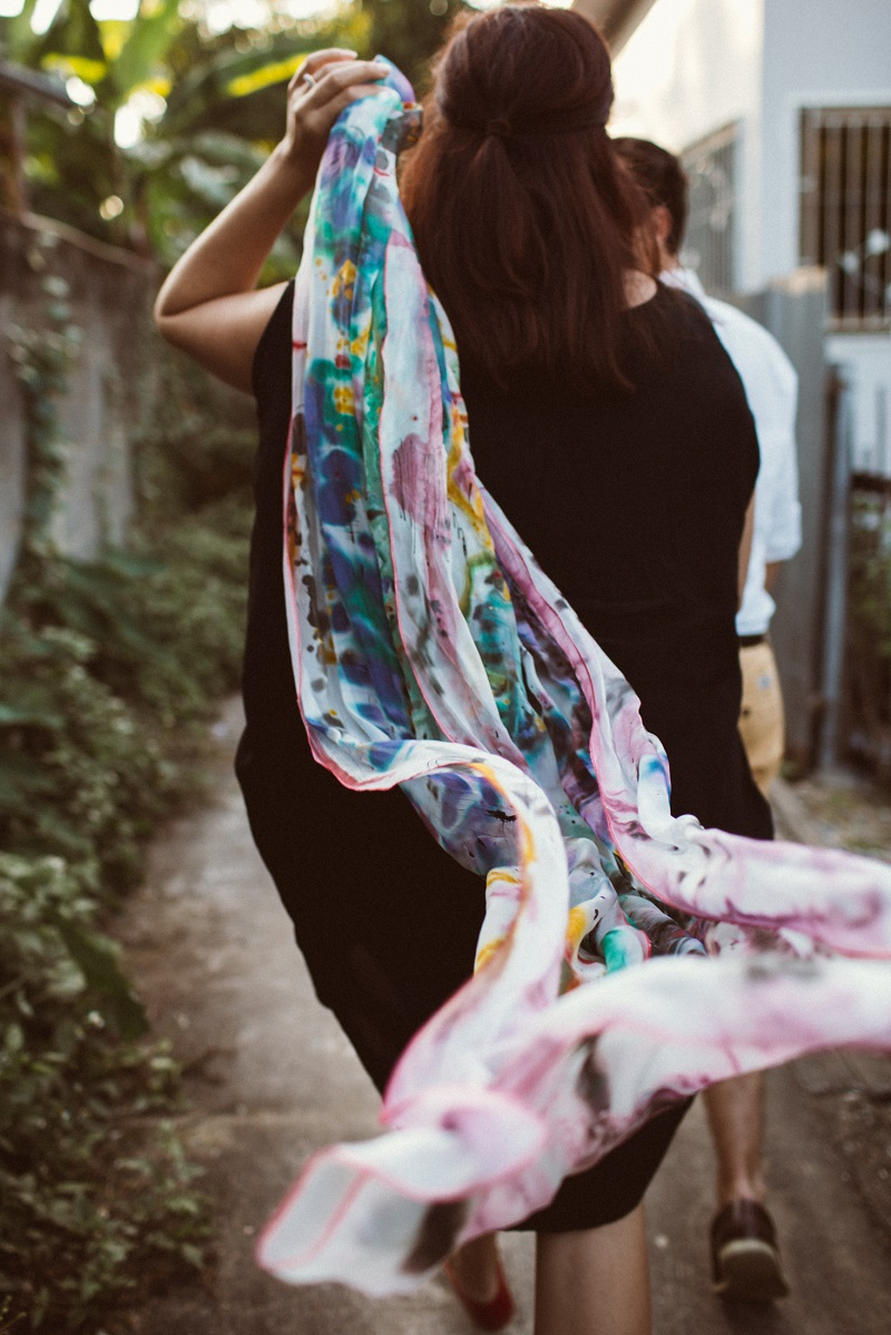 My lightweight scarf by Elizabeth Orchard. Taken in Chiang Mai, Thailand during our honeymoon. Photo by Flytographer.