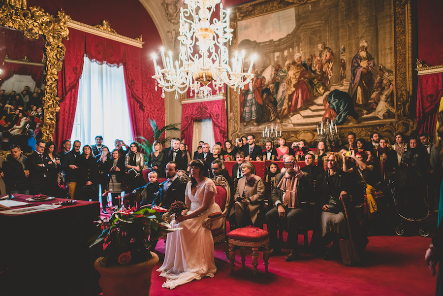 """Our wedding day part one in the """"sala rosso"""" or red room in Palazzo Vecchio. Photo credit: Francesco Spighi Photography"""