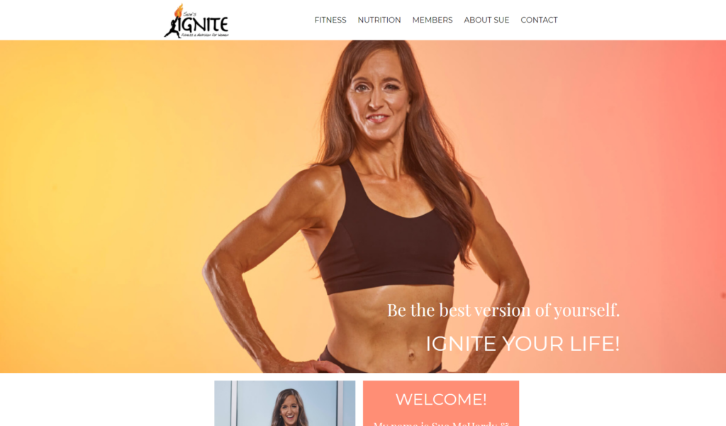 A screen shot of Sue's Ignite Fitness demonstrating beautiful images, which is an essential for a perfect home page.