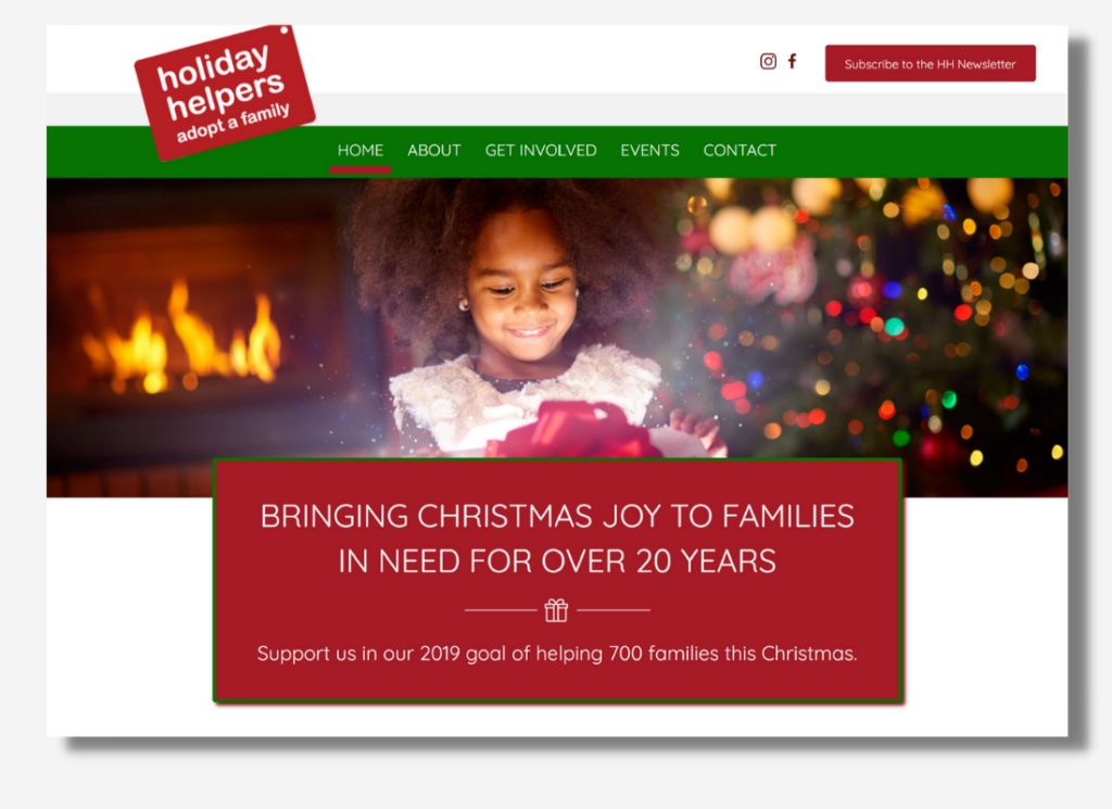 An image of the Holiday Helpers home page