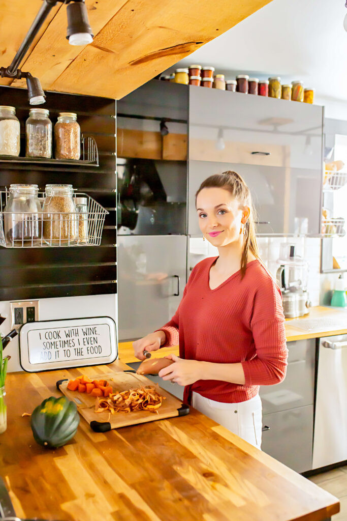 Sara Flint is a nutritionist for new moms, standing at her counter