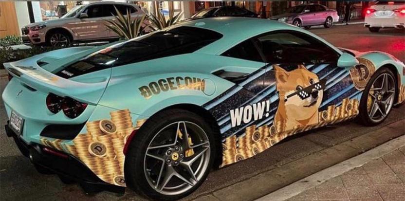 Dogecoin Cryptocurrency Wrap on 880HP Ferrari F8 Tributo  Miami, Florida Bitcoin Conference 2021