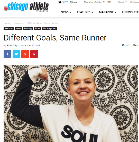 Chicago Athlete story about the Great Pink Run and breast cancer survivor Lexi Feidler