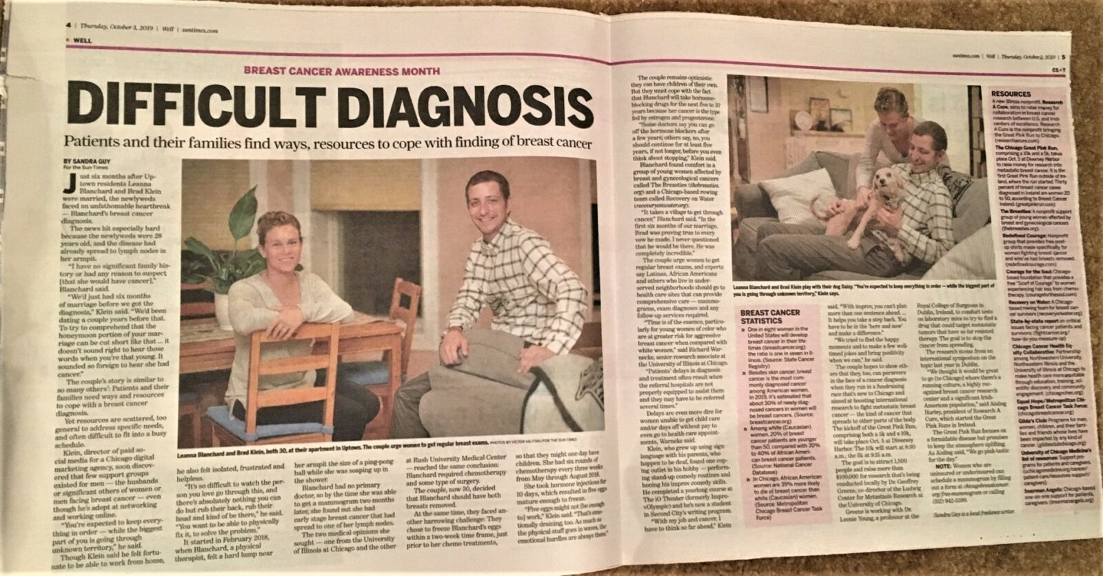 """Chicago Sun-Times October 1, 2019 feature: """"Difficult Diagnosis"""""""