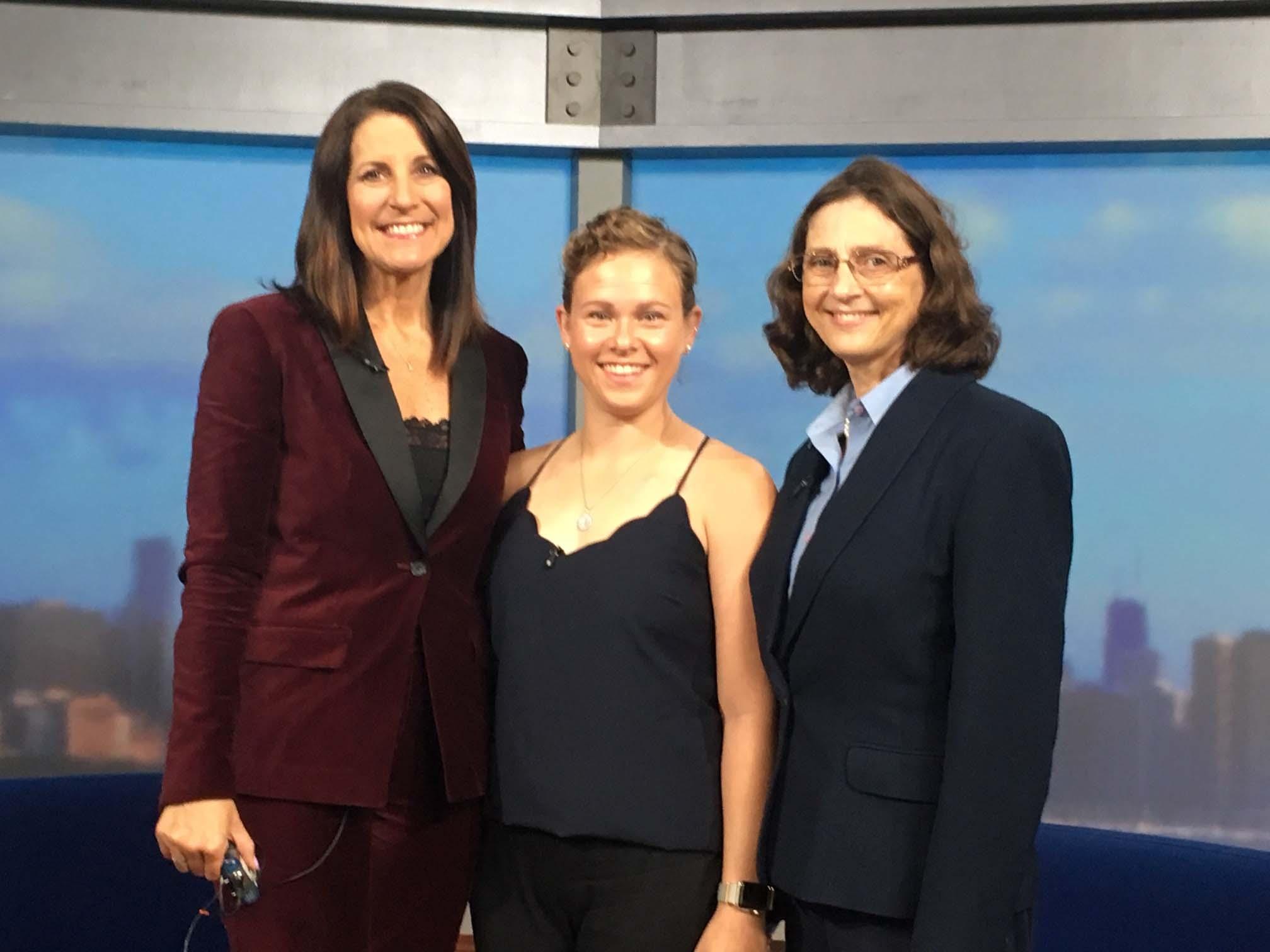 Photo of Great Pink Run ambassadors with GN-TV's Dina Bair