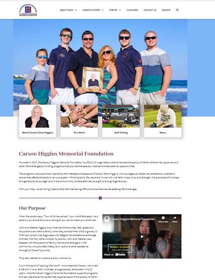 Carson Higgins Memorial Foundation website project