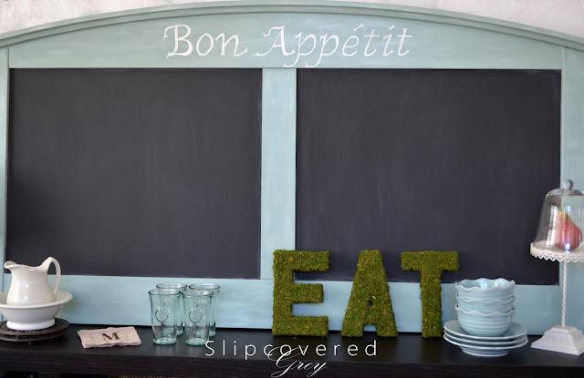 Bon Appetit menu board made from an old headboard
