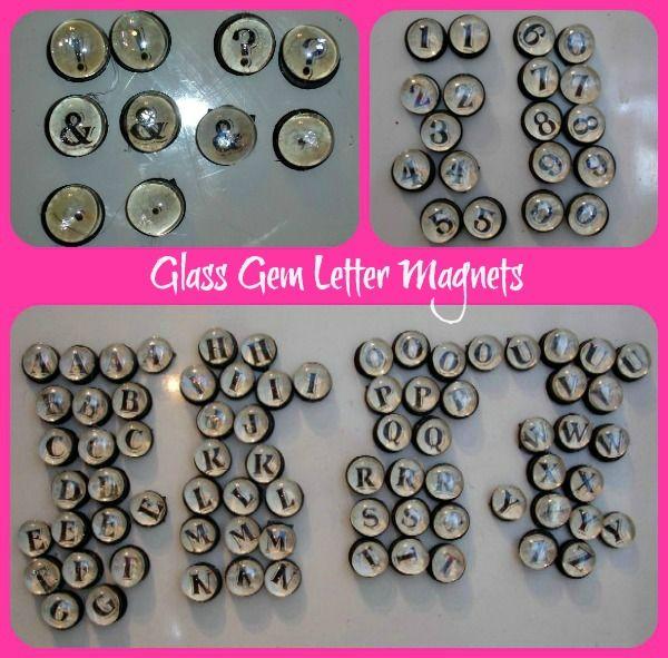 Glass Gem Marble Letter Magnets