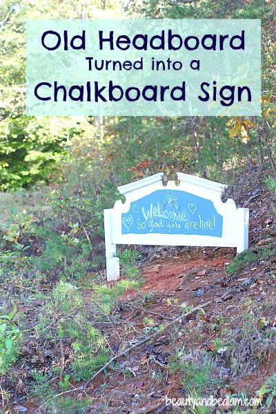 Old Headboard Into New Welcome Sign