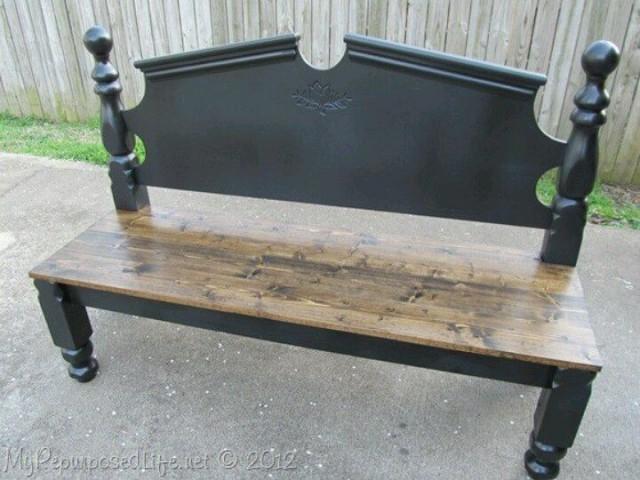 Recycled headboard bench