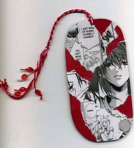 Bookmarks made from discarded manga volumes
